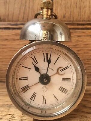 Antique Ansonia Alarm Clock Carriage Mantel Travel Clock Rare 19th C For Repair
