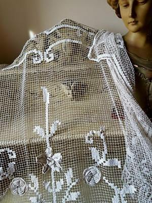 Stunning Rare Antique French Handcrafted Crochet Fringed Lace Bed Cover / Throw
