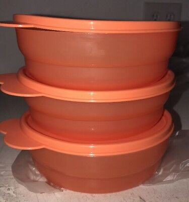 3 Tupperware Microwave Reheatable Breakfast Tangerine Cereal Bowls w/ Seals-NEW