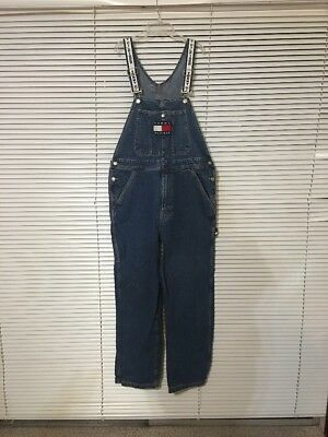 Vintage 90s Tommy Hilfiger Carpenter Style Spell Out Strap Overalls Sz M EX COND