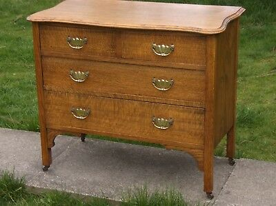 A Petite Solid Golden Oak Chest Of 2 Over 2 Graduating Drawers Vgc