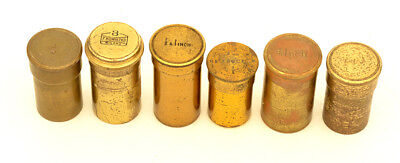 6 c.19th brass microscope objective cannisters #2