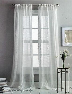 DKNY Two Rod Pocket Curtain Panels Sterling Sheer 50 IN X 84