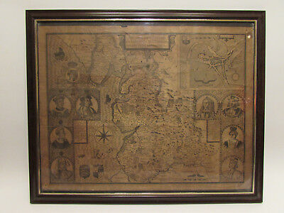 THE COUNTY PALLATINE OF LANCASTER 1610 Antique very old map in frame.