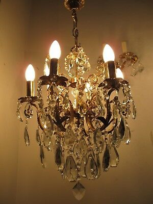 Antique Vnt French HUGE 6 arms Crystal Chandelier Lamp 1940's 16in Ø dmtr