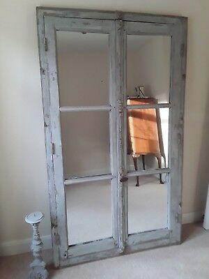 Large Vintage French Mirrowed Window Frame