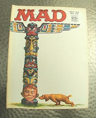 Vintage Mad Magazine #74 Oct., 1962, Totem Pole Cover by K. Freas, Very Fine