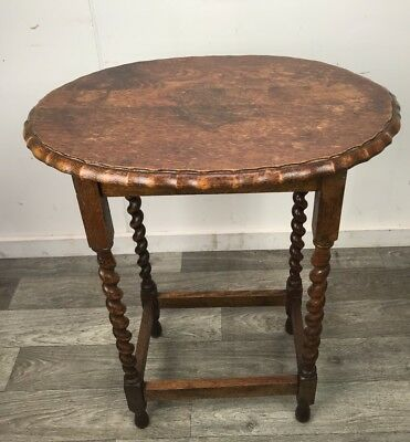 Antique Art Deco Oak Barley Twist Occasional Hallway Side Table