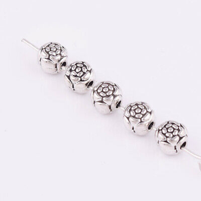 Nice Tibetan silver Solid Round Charms Spacer Beads Jewelry Findings 6mm XZ125