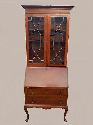 Antique mahogany Queen Anne bureau with glazed bookcase top with inner shelves