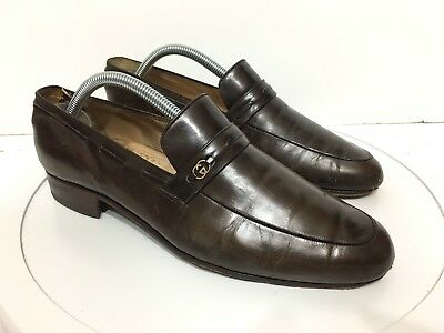 fd6e5a3bd53f Vintage Gucci Mens 42 Leather Penny Loafers Shoes Italy Brown Double G  Emblem