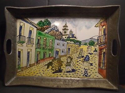 """Old Hand Painted Ceramic Tile Mural Of A Mexican Street Scene Tin Tray 21"""" x 15"""""""