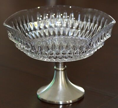 Vintage glass Fruit Bowl on silver plated stand