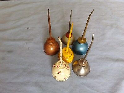 LOT OF 6 VINTAGE OIL CAN OILERS - Colorful variety