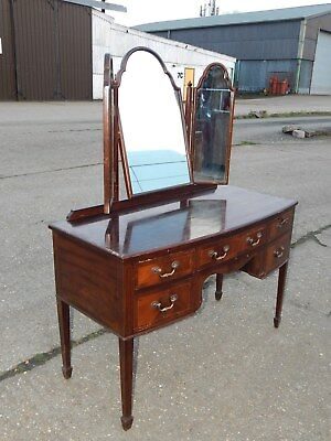 Antique Edwardian Maples mahogany 5 drawer knee-hole dressing table with mirrors