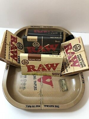 Bundle of 6 Items Two Raw Single Wide (black &organic)+Raw Cone Tips,Tray+Roller