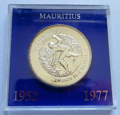 (1952) 1977 Mauritius 25 Rupees Silver Proof-Like coin, case, British  (151943L)