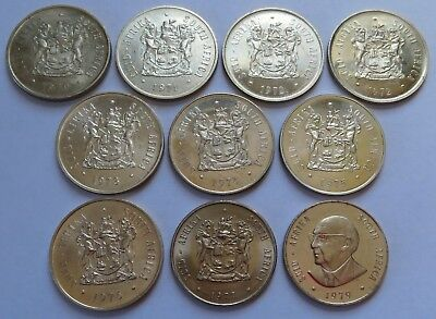 10 South African Silver 1 Rand coins 1970-77, 1979  - UNC/BU. One 1R  (151956L)
