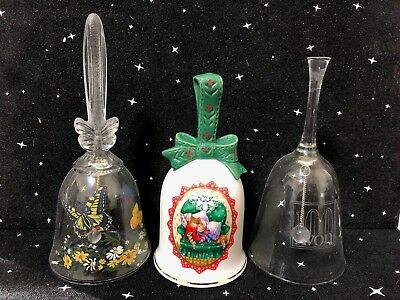 Vintage Lot of 3 AVON Collectible Bells Full Lead Crystal & Porcelain Christmas