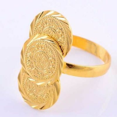 Stunning 18k Yellow Gold Filled Coin Shape Finger Ring Size 7-10 Adjustable