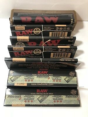 Authentic Raw Black King Size Slim Rolling Paper (6 packs) + Raw Roller 110MM