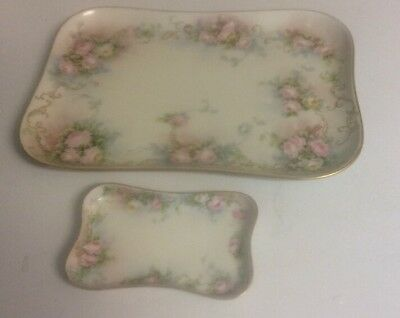 Antique Hand Painted & Signed Limoges Flambeau Dresser Trays 1911 dated
