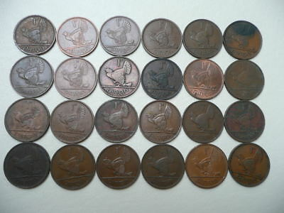 Lot of 24 Irish One Penny Animal Coins of Ireland - hens and chicks