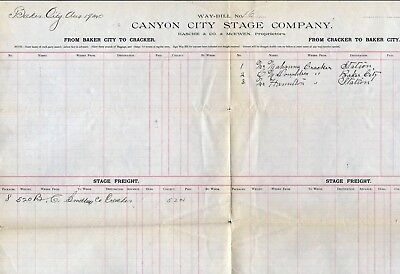 Canyon City Stage Co, Way-Bill, Between Baker City And Cracker 1890