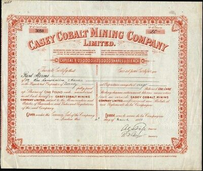Casey Cobalt Mining Co Limited, London, 1913 Stock Certificate