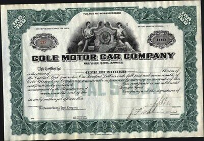 Cole Motor Car Co, Indiana, Partly Issued, Signed In Blank By J.j. Cole
