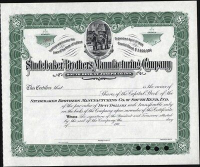 Studebaker Brothers Manufacturing Co, Unissued, 190- Indiana Stock Certificate