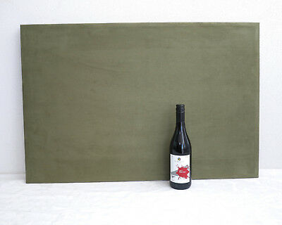 Large framed cork board/pin board covered in green suede material, 900mm x 600mm
