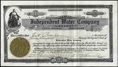 Independent Water Co, Bingham Canyon, Utah, 1910, Uncancelled Stock Cft.