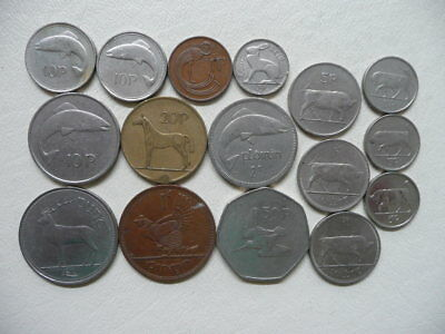Lot of 16 Mixed Irish Animal Coins of Ireland - with one punt and predecimal