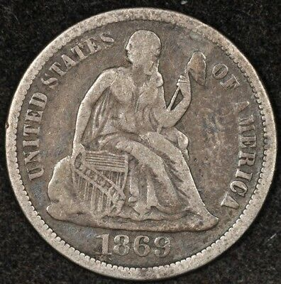 1869 Seated Liberty Dime Vf