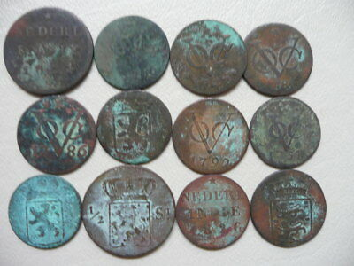 Lot of 12 Netherlands East Indies Coins 1700s and 1800s - Duits
