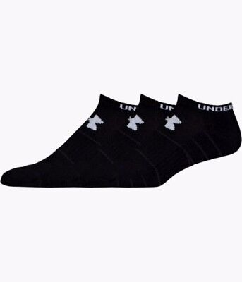 Under Armour Elevated Performance No Show Socks 3 Pack Large Black White New Tag