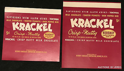 #30  2 Different Size Hershey's Krackle Wrappers Circa 1940's Unused. Mint