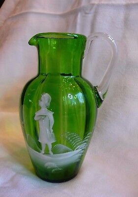 """Victorian Mary Gregory Green Glass Pitcher 6.5"""" Tall Enamel Girl Antique"""