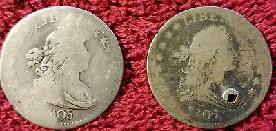 Two Draped Bust Quarter Dollars 25C - Scratched & Holed (1805 & 1807).