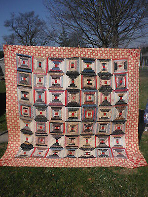 Antique Pre 1930 Hand-Made QUILT LOG CABIN 82 x 84