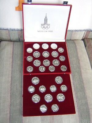 1980 Moscow Olympic 28 Silver Coin Set with Box  & coa