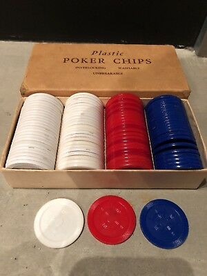 vintage plastic poker chips in original box