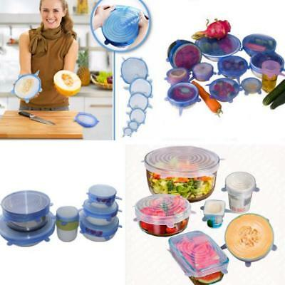 Reusable Silicone Food Pot Lid Bowl Covers Wrap Keep Food Stretch Fresh 6PCS G