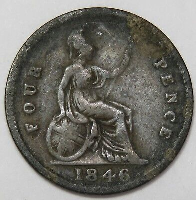 1846 Four Pence Groat KM# 731 Great Britain UK World Coin Item #17705