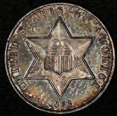 1862 Three Cent Silver Au Color Toned