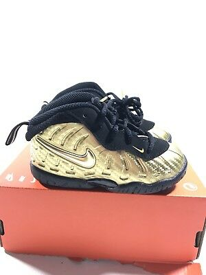 0c6629fbb8d5c good nike lil little posite pro td gold black foamposite 843769 701 toddler  size 6c ce064