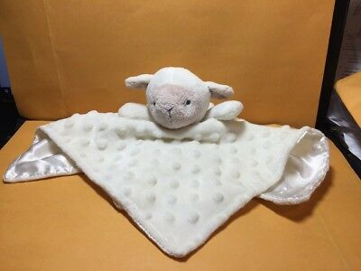 "Elegant Baby Ivory Security Blanket Lamb 12""x12"" Dot Satin Back"