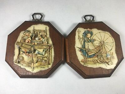 Vintage Folk Art Holly Hobby Decoupage Pair of Wooden Wall Plaques