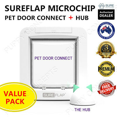 SureFlap Microchip Pet Door Connect & Hub Value Pack Cat Dog Keep Out Wifi App